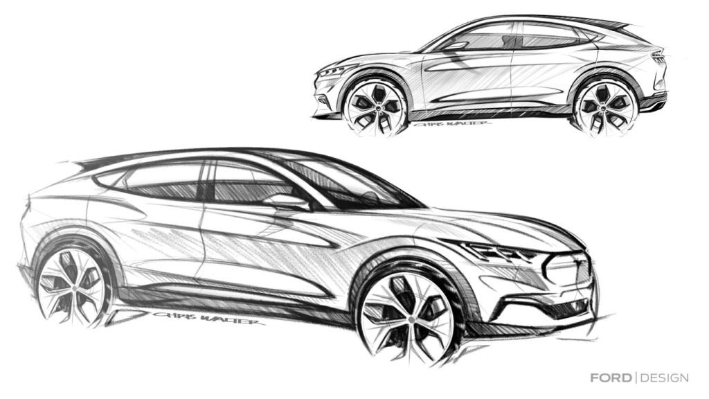 Mustang Mach-E pencil sketch